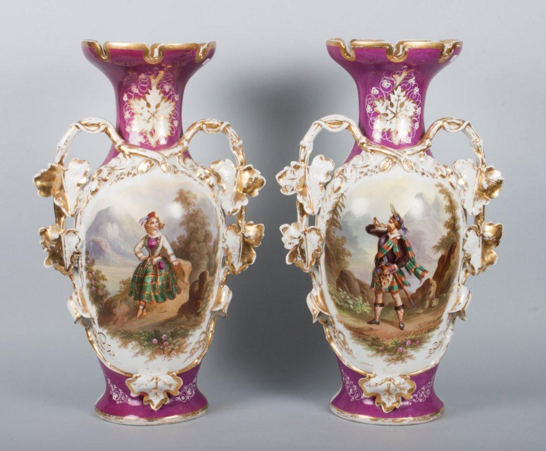 Pair of Porcelain de Paris vases