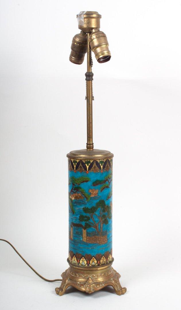 Japanese cloisonne enamel vase lamp