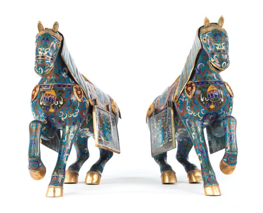 Pair of Chinese cloisonne enamel horses