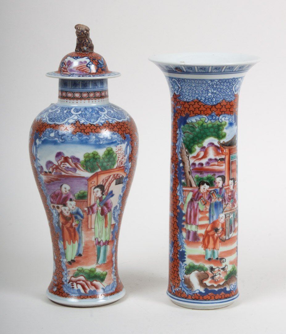 Two contemporary mandarin palette vases