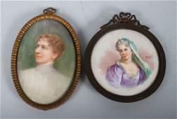 Two miniature portraits on porcelain
