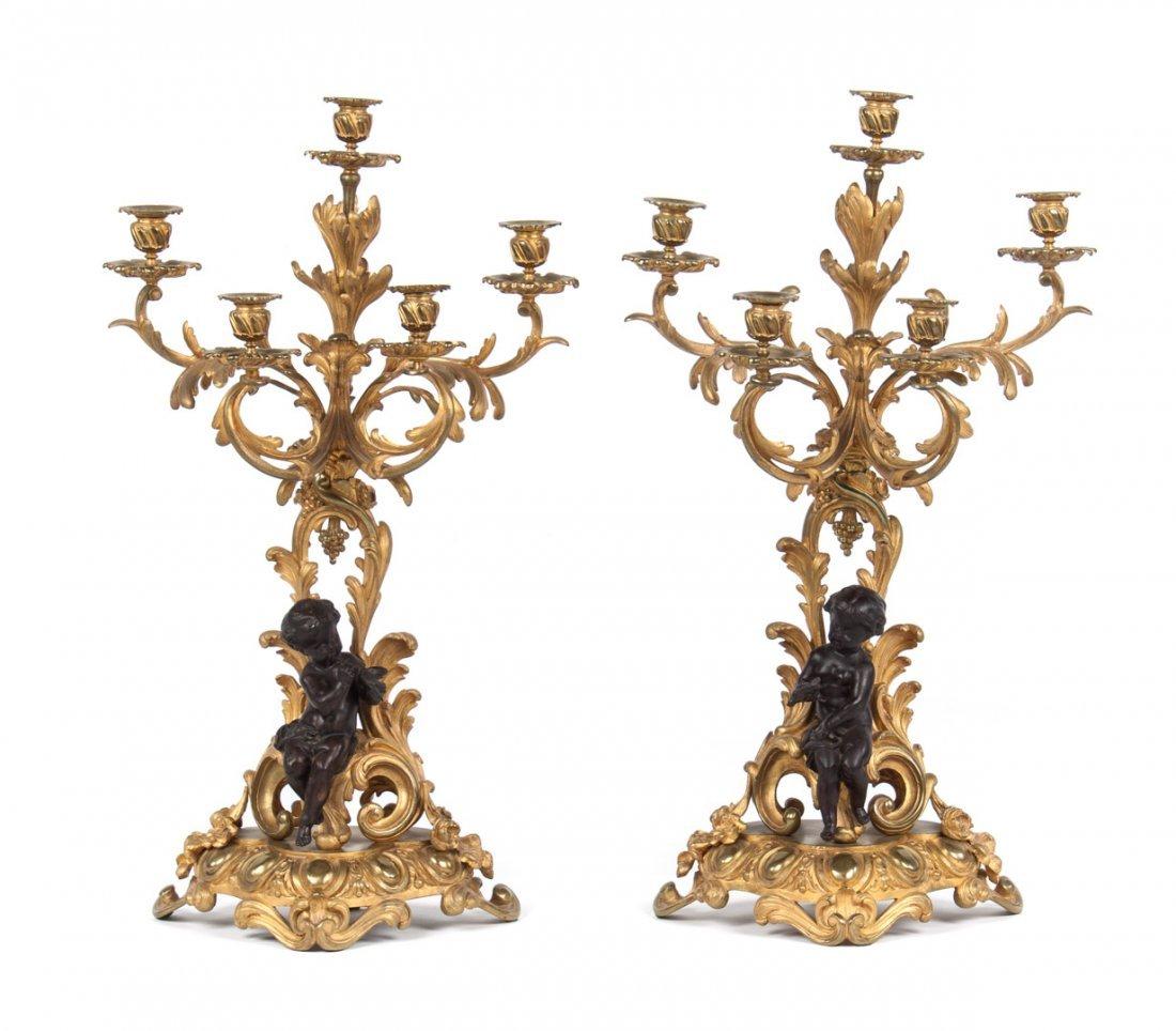 Pair of Louis XVI style bras de lumiere