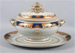 Mottahedeh porcelain soup tureen and underplate