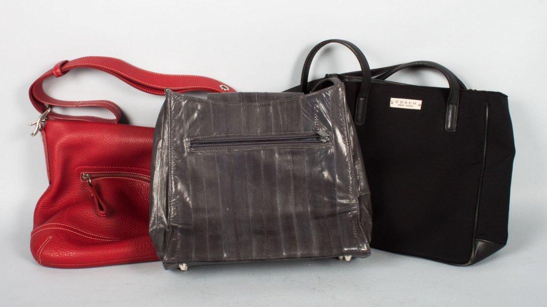 Two Coach handbags & a Lee Sands eel skin purse