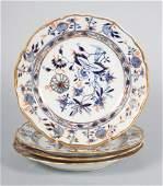 Four Meissen porcelain luncheon plates