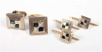 Pair of 18K gold diamond  sapphire cuff links