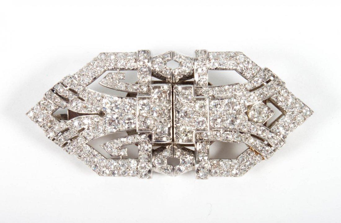French Art Deco platinum & diamond clip brooch