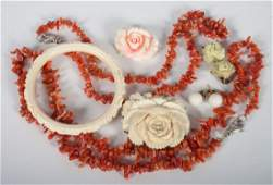 Group of coral and ivory jewelry items