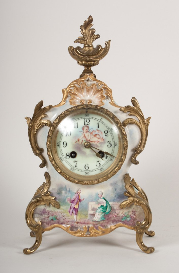 French ceramic and gilt-metal mantel clock