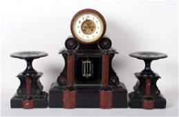Napoleon III marble clock garniture