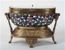 Moser enameled glass dresser box with brass mounts