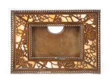 Tiffany giltbronze  favrile glass desk calendar