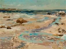 Raoul Middleman. Beachscape, oil on board