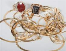 Group of lady's gold jewelry items