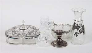 Assorted silver overlay and other glass