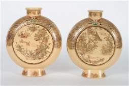 Pair Japanese Satsuma earthenware moon flasks