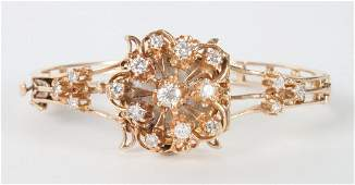Ladys K Lubell 14K gold  diamond wrist watch