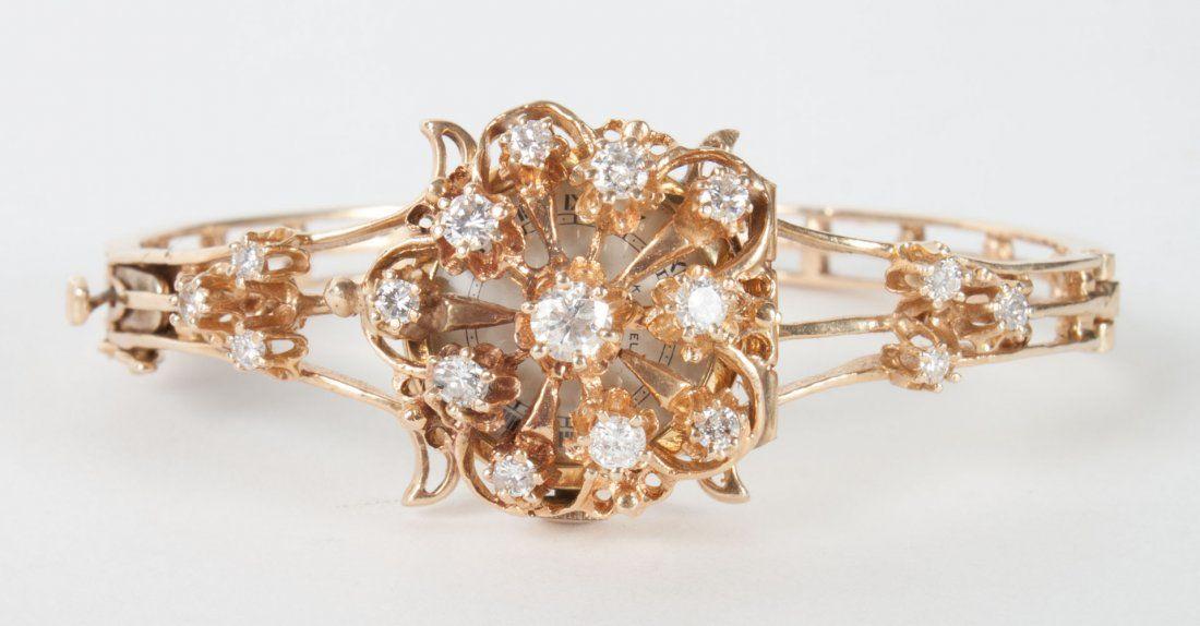 Lady's K. Lubell 14K gold & diamond wrist watch