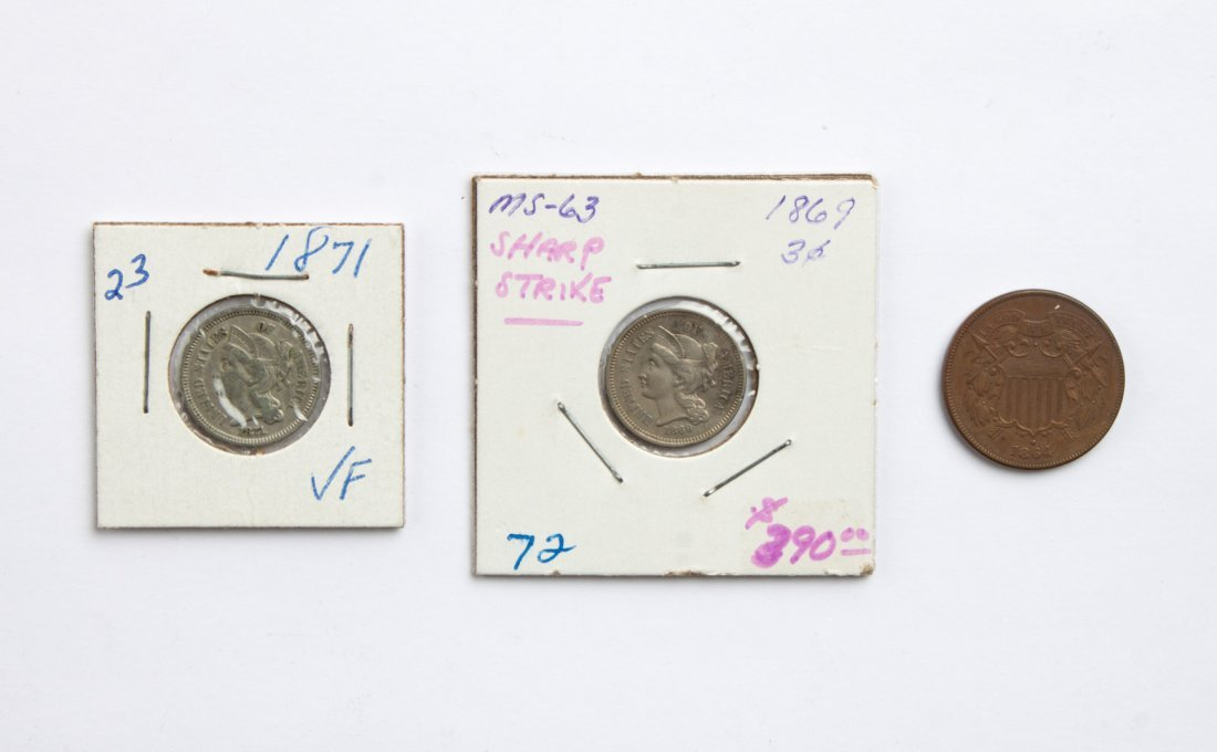 U.S. 3-cent and 2-cent pieces, 1864-'71