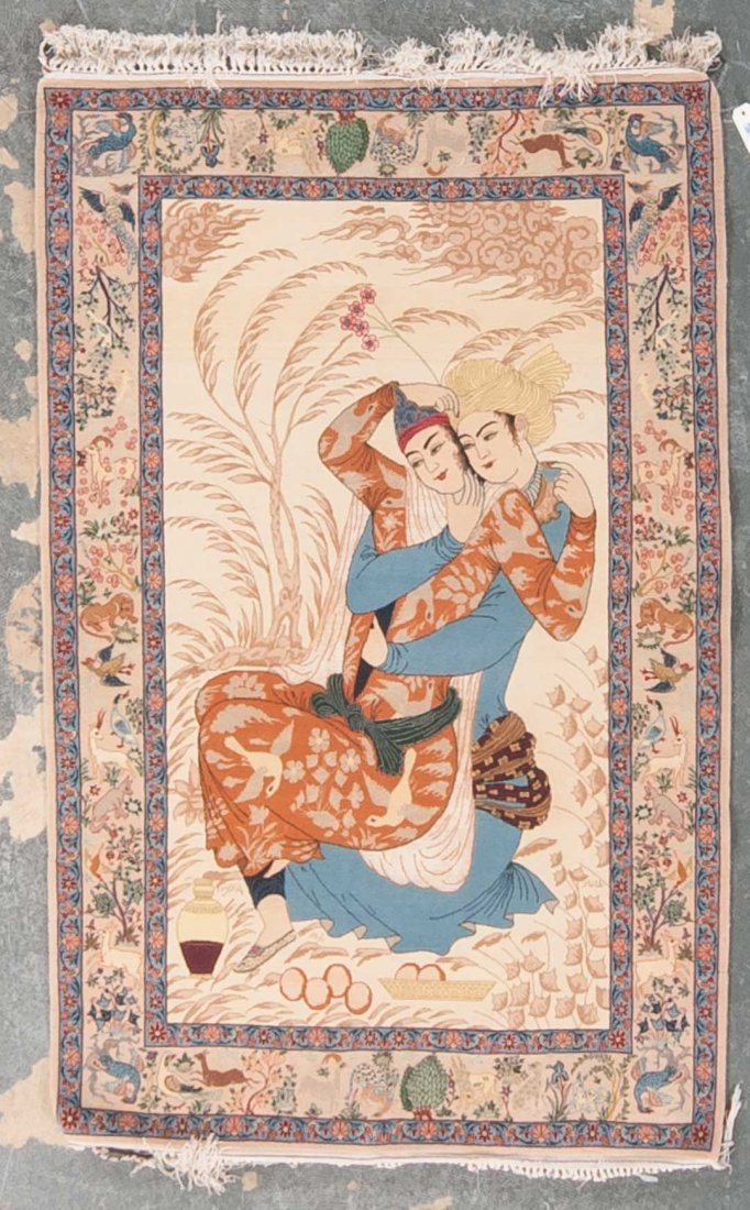 Fine Isphahan pictorial rug, approx. 3.6 x 5.6