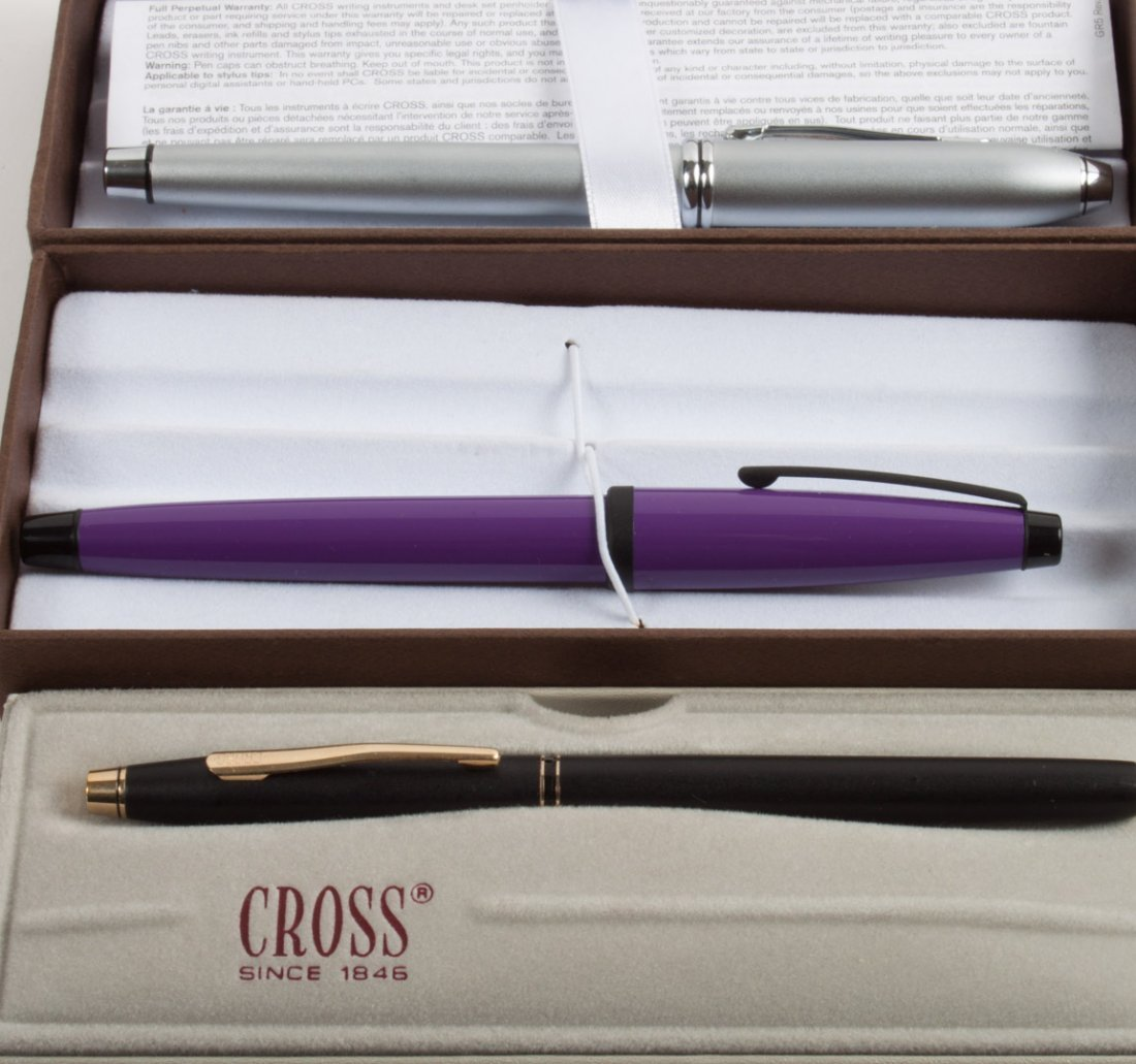 Cross platinum roller ball pen and two Cross pens