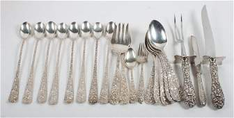 """Group of Stieff """"Rose"""" sterling silver flatware"""
