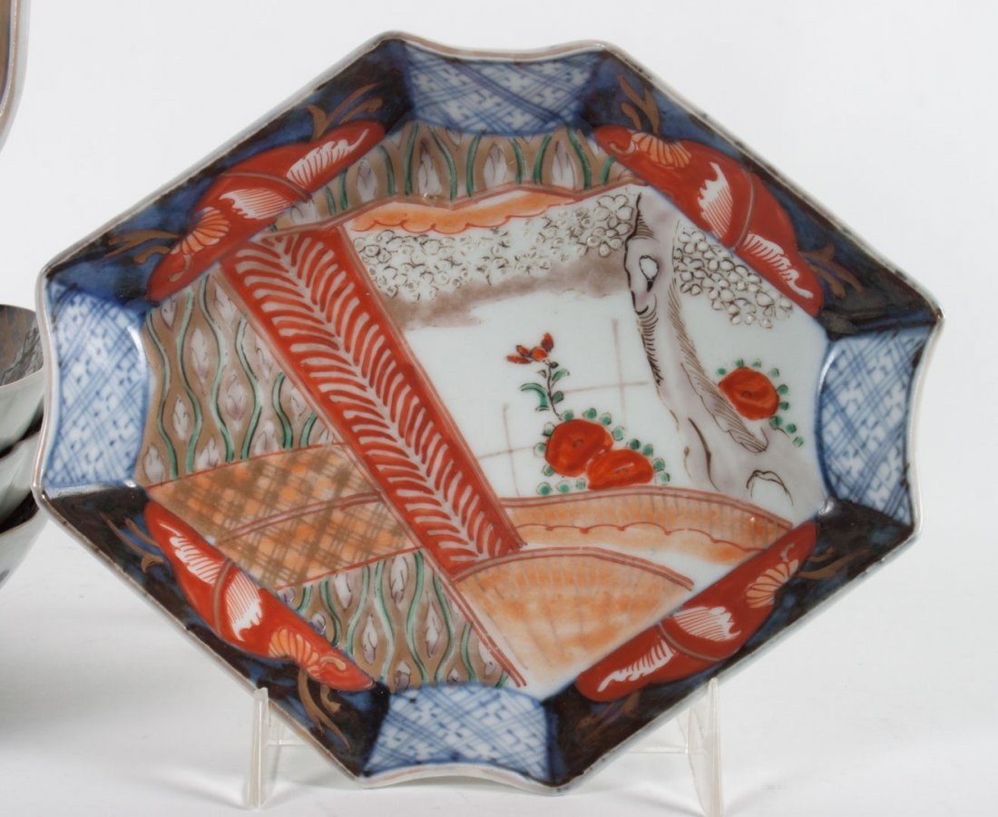Five Japanese Imari porcelain table objects - 2