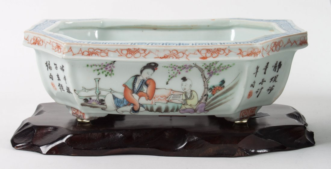 Chinese Export porcelain bowl and bulb planter - 2