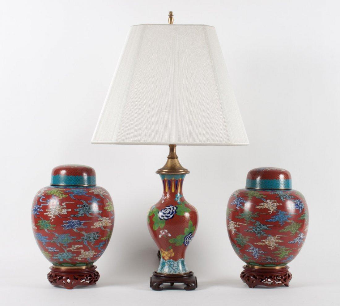 Pr. Chinese cloisonne enamel ginger jars and lamp