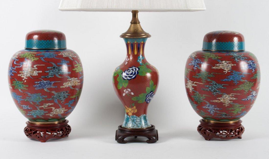 Pr. Chinese cloisonne enamel ginger jars and lamp - 2