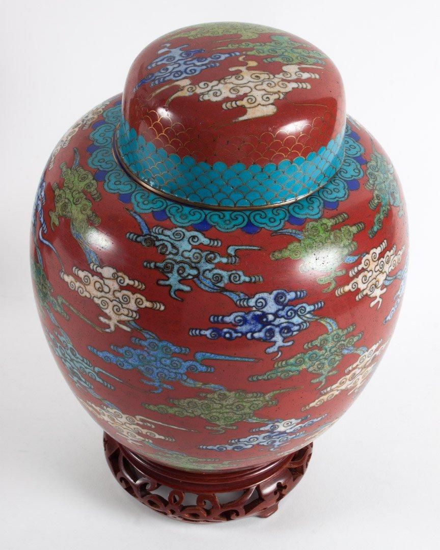 Pr. Chinese cloisonne enamel ginger jars and lamp - 3