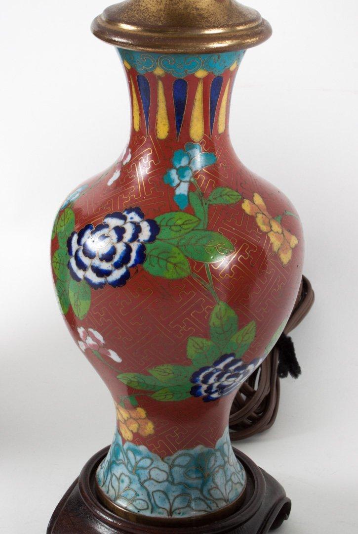 Pr. Chinese cloisonne enamel ginger jars and lamp - 4