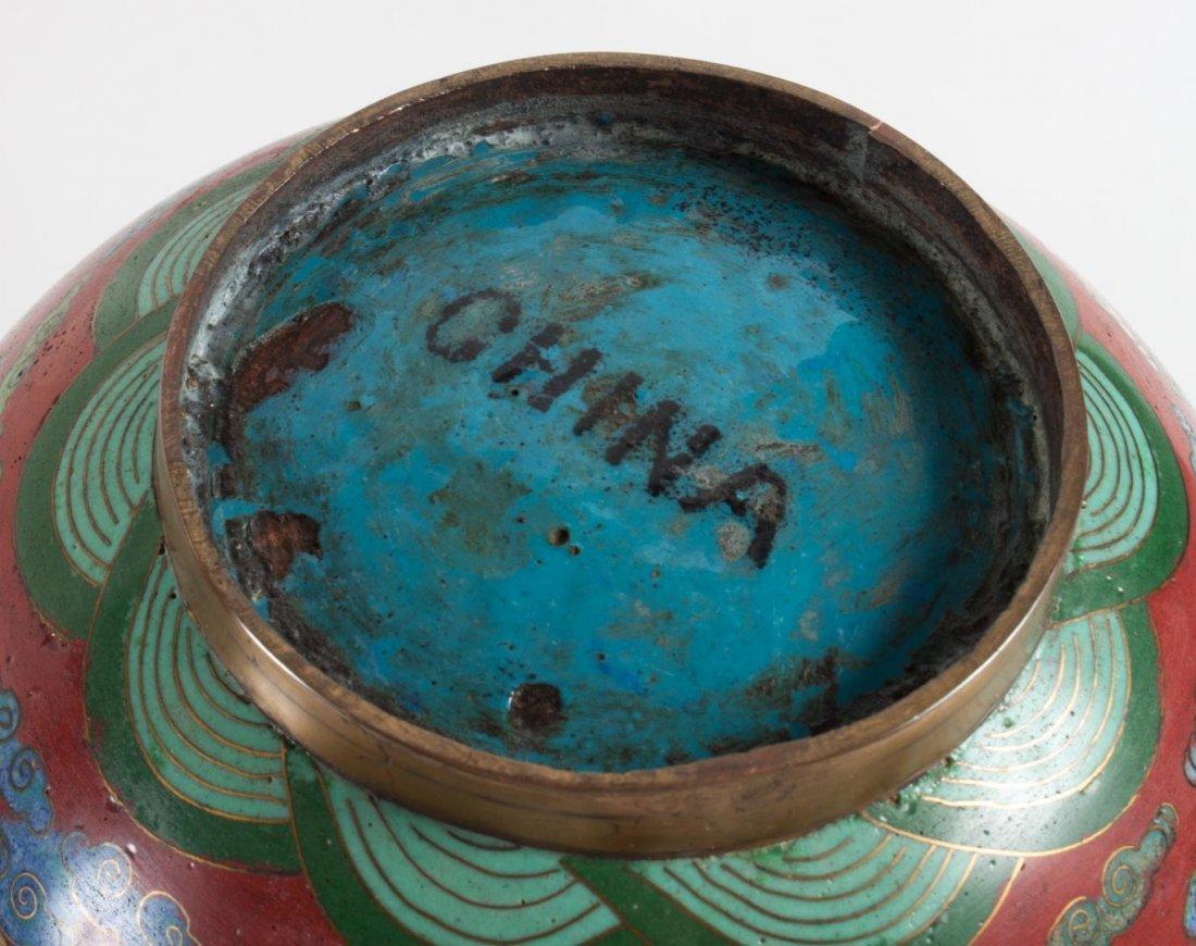 Pr. Chinese cloisonne enamel ginger jars and lamp - 5