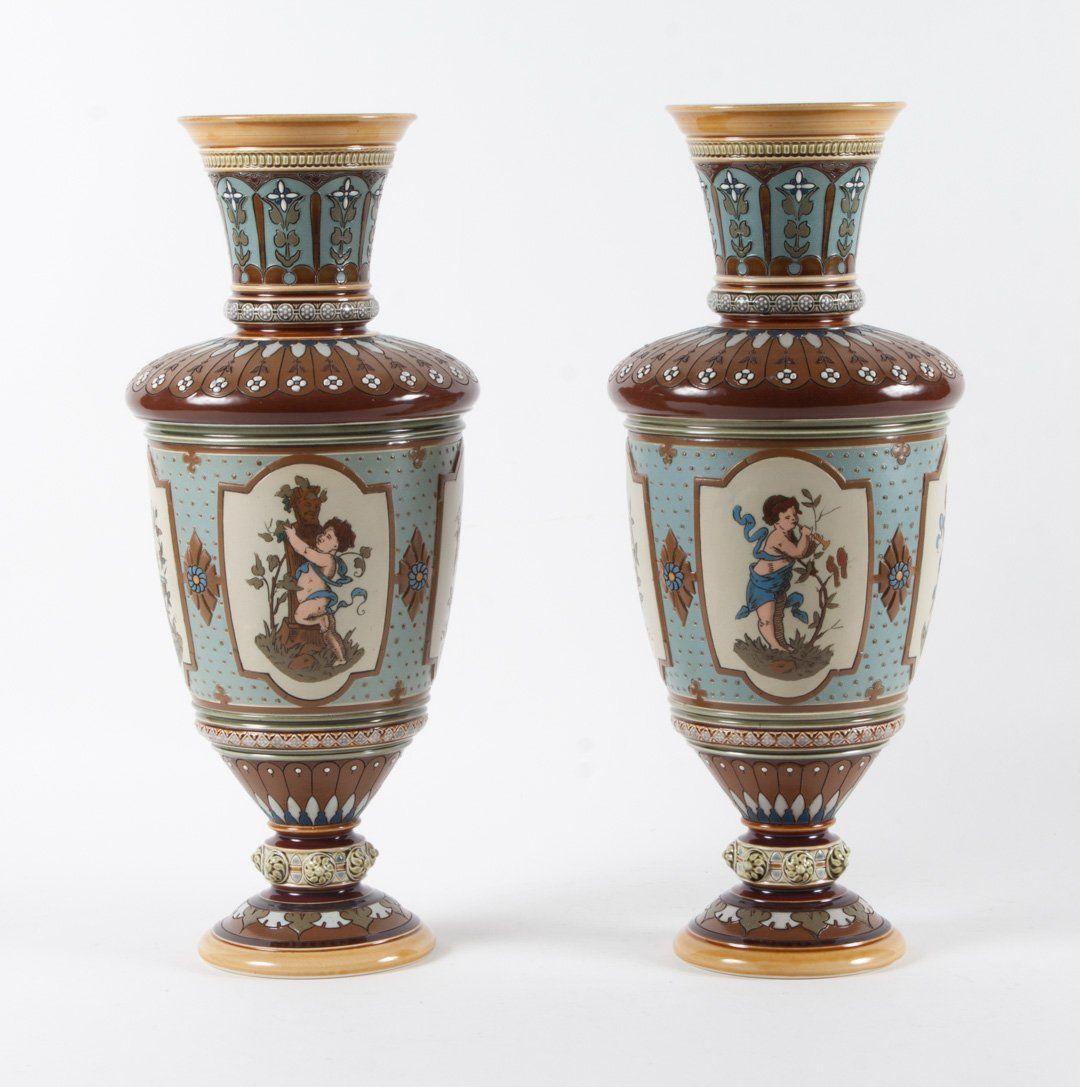 Pair of Mettlach salt glazed stoneware vases