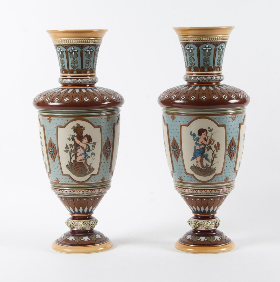 Pair of Mettlach salt glazed stoneware vases