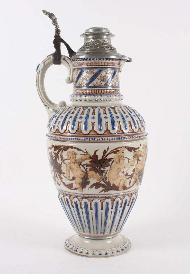 Mettlach salt glazed stoneware flagon