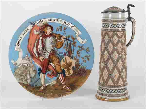 Mettlach salt glazed stoneware stein and charger