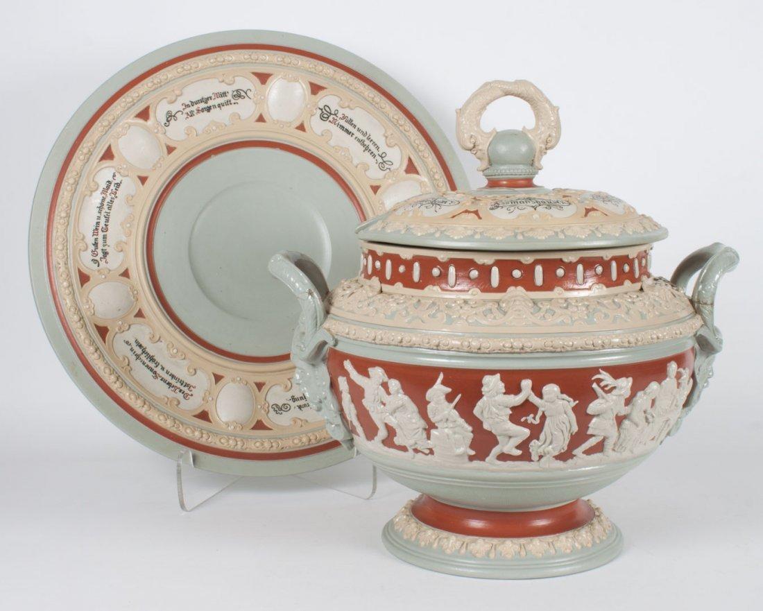 Mettlach salt glazed stoneware punch tureen
