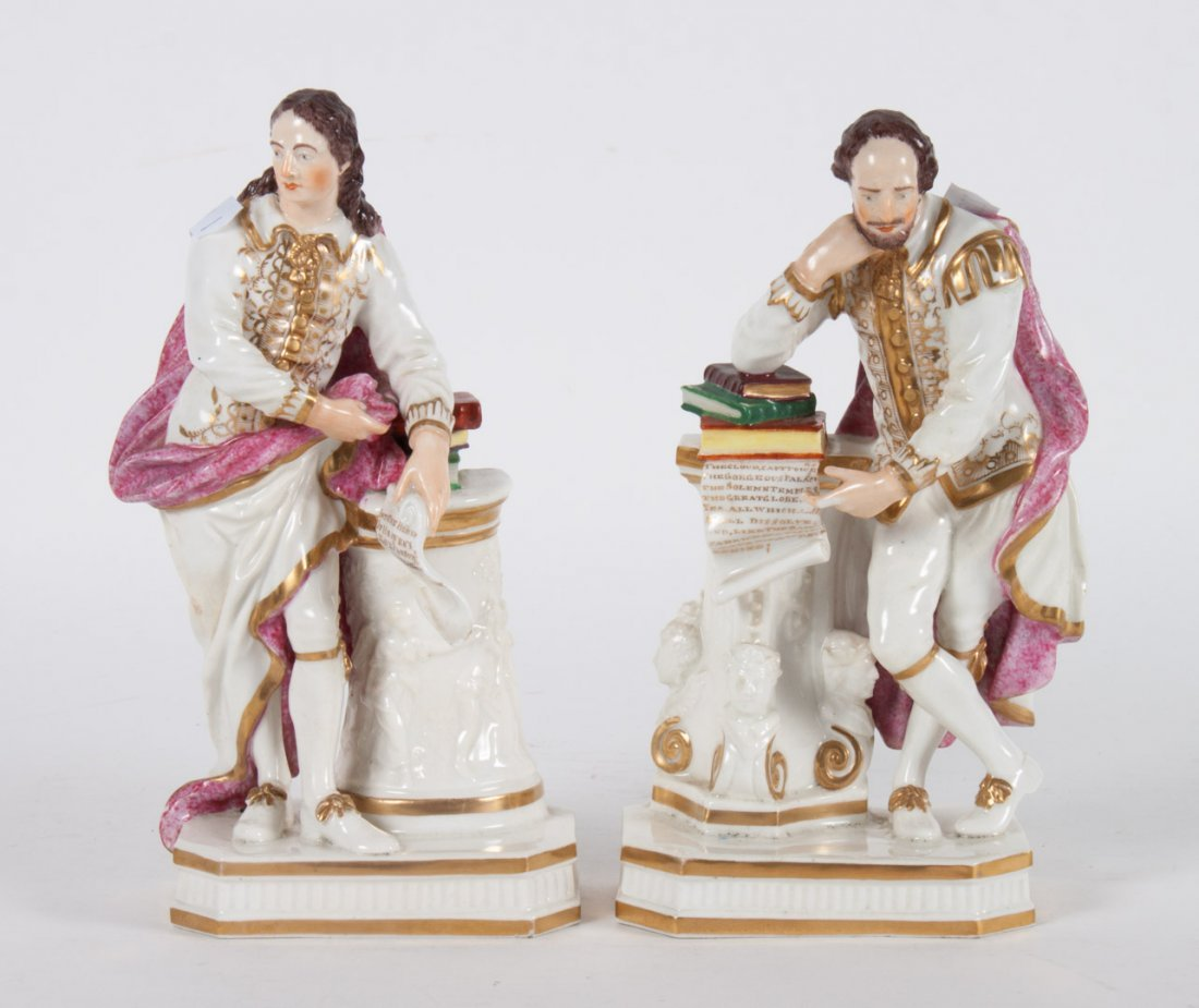 Pr. of Derby china figures: Shakespeare and Milton
