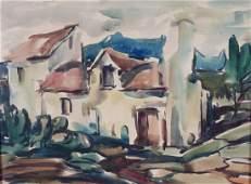Attr to Jane Peterson House Portrait watercolor