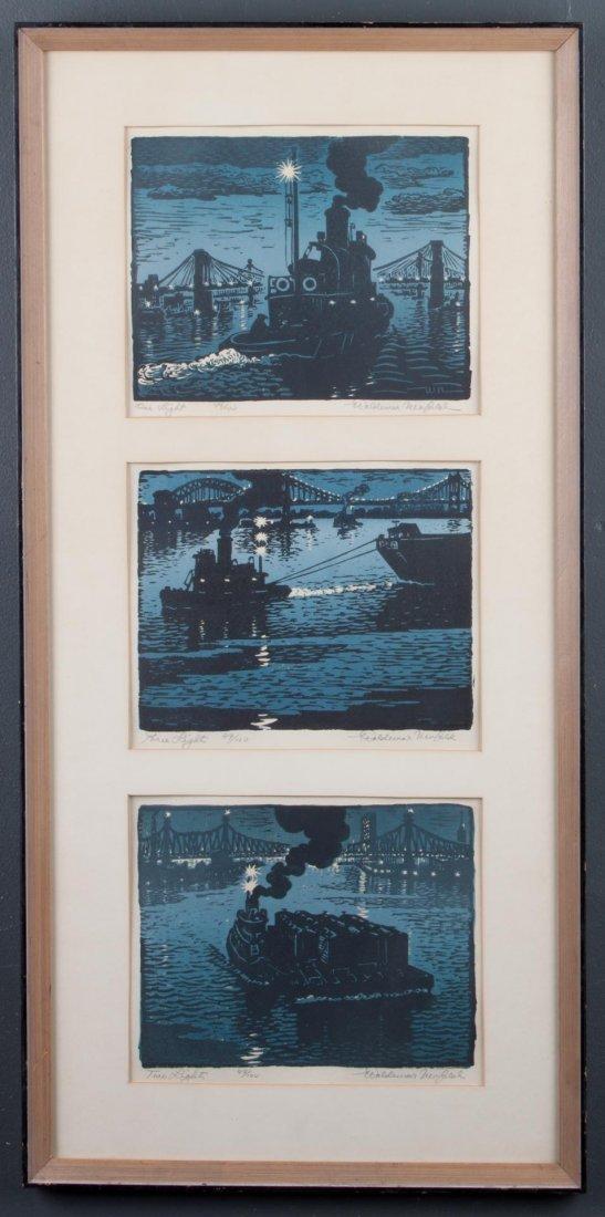 Woldemar Neufeld. Three Tugboat theme woodcuts - 2