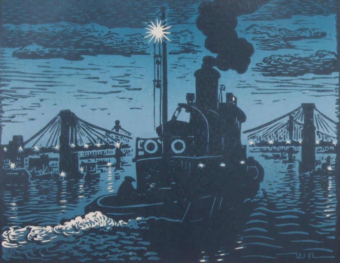 Woldemar Neufeld. Three Tugboat theme woodcuts - 4
