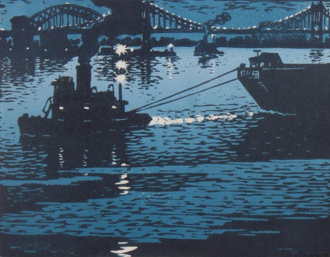 Woldemar Neufeld. Three Tugboat theme woodcuts - 5