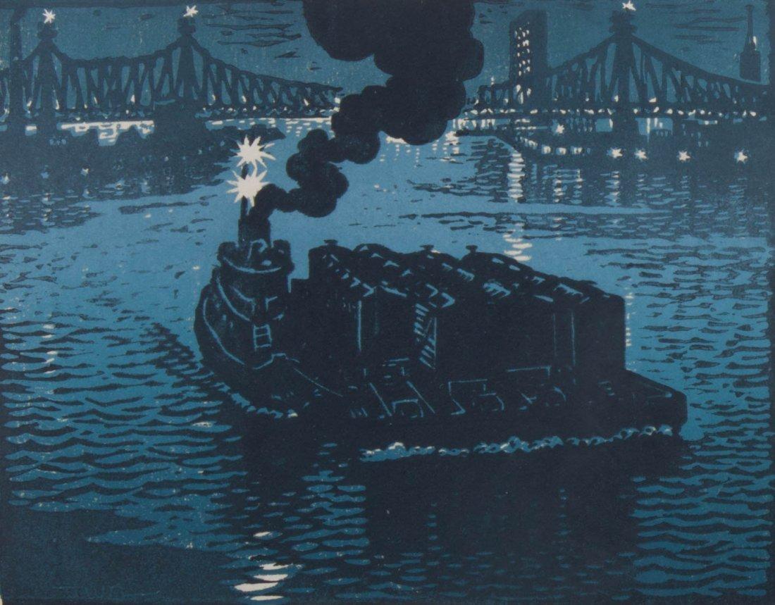 Woldemar Neufeld. Three Tugboat theme woodcuts - 6