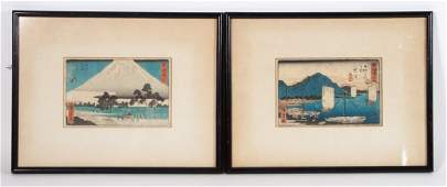 Ando Hiroshige Two color woodblock prints framed