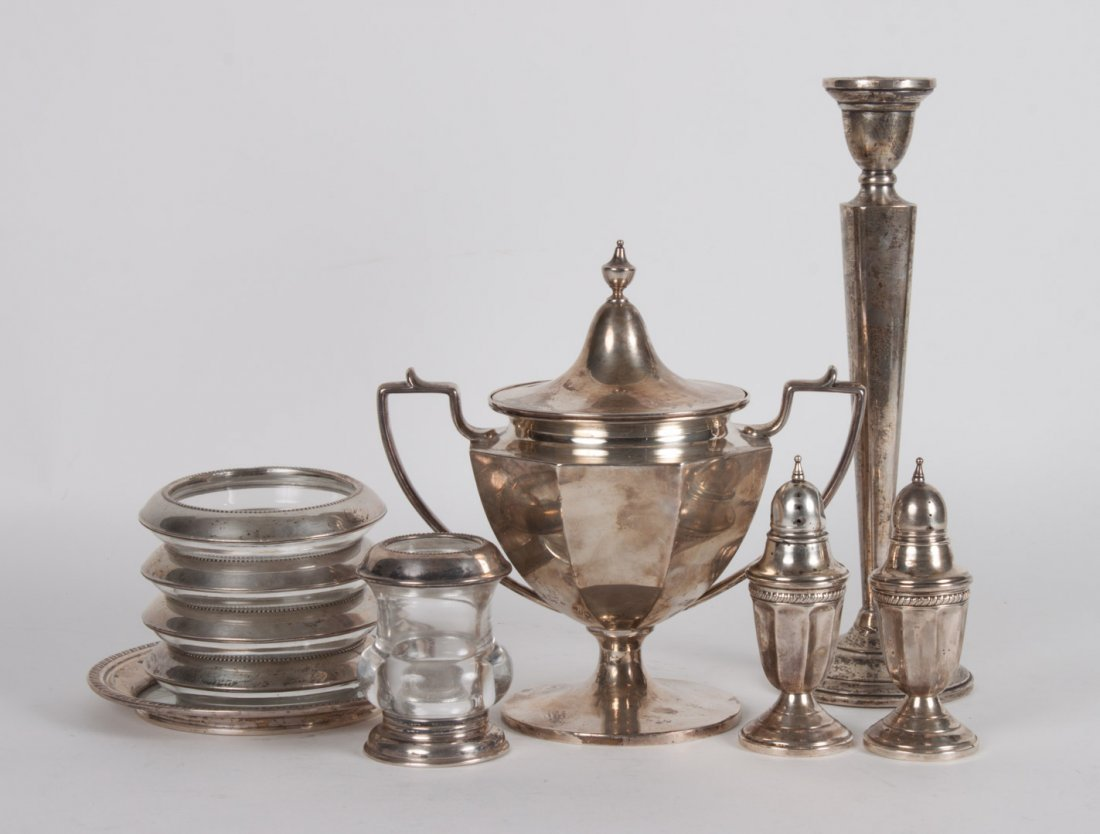 Ten American sterling silver table articles