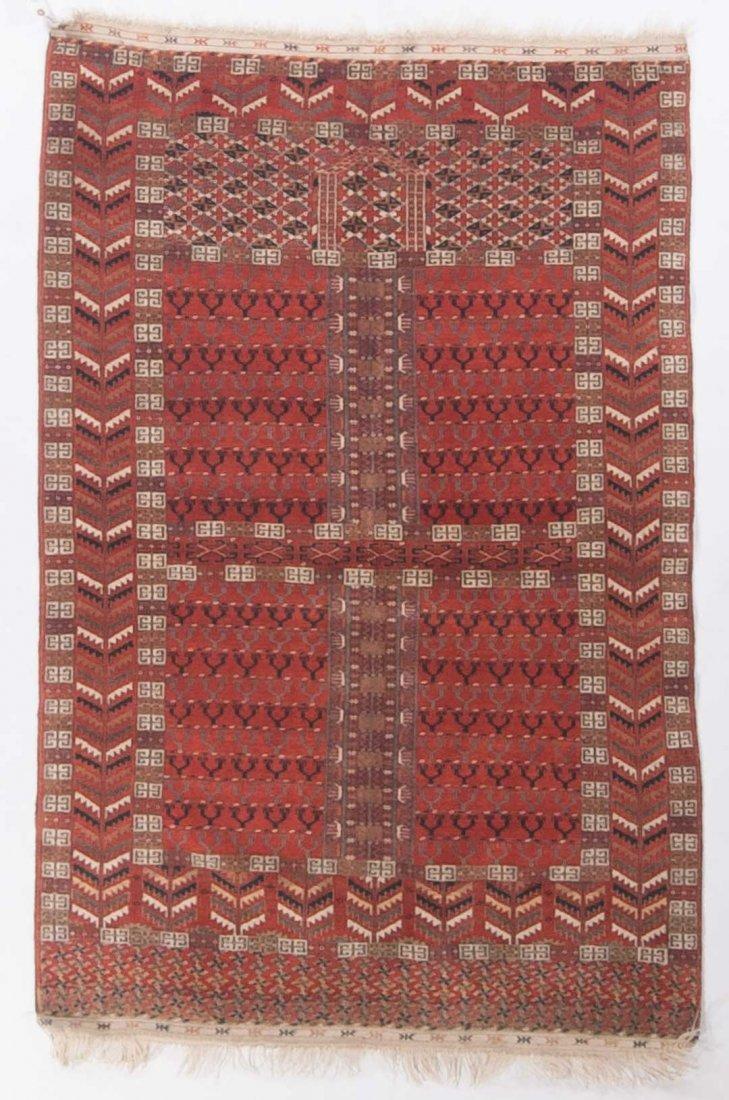 Antique Turkemon Hatchli rug, approx. 3.9 x 5.8