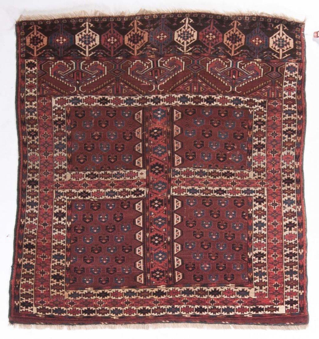 Antique Hatchli rug, approx. 4.11 x 5.1