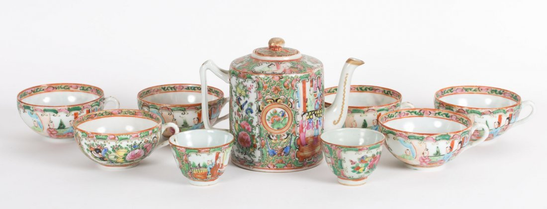 Nine Chinese Export Rose Medallion tea articles