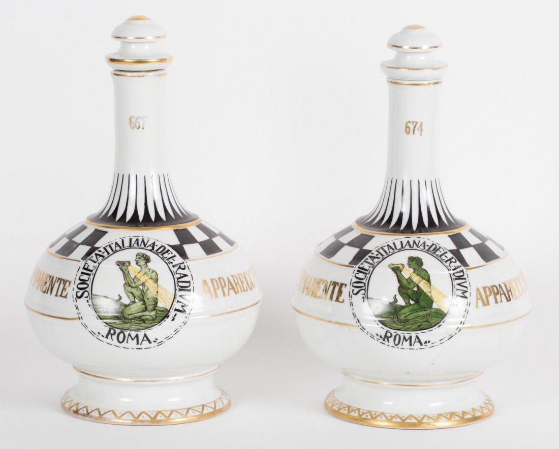 Pair Continental porcelain decanters